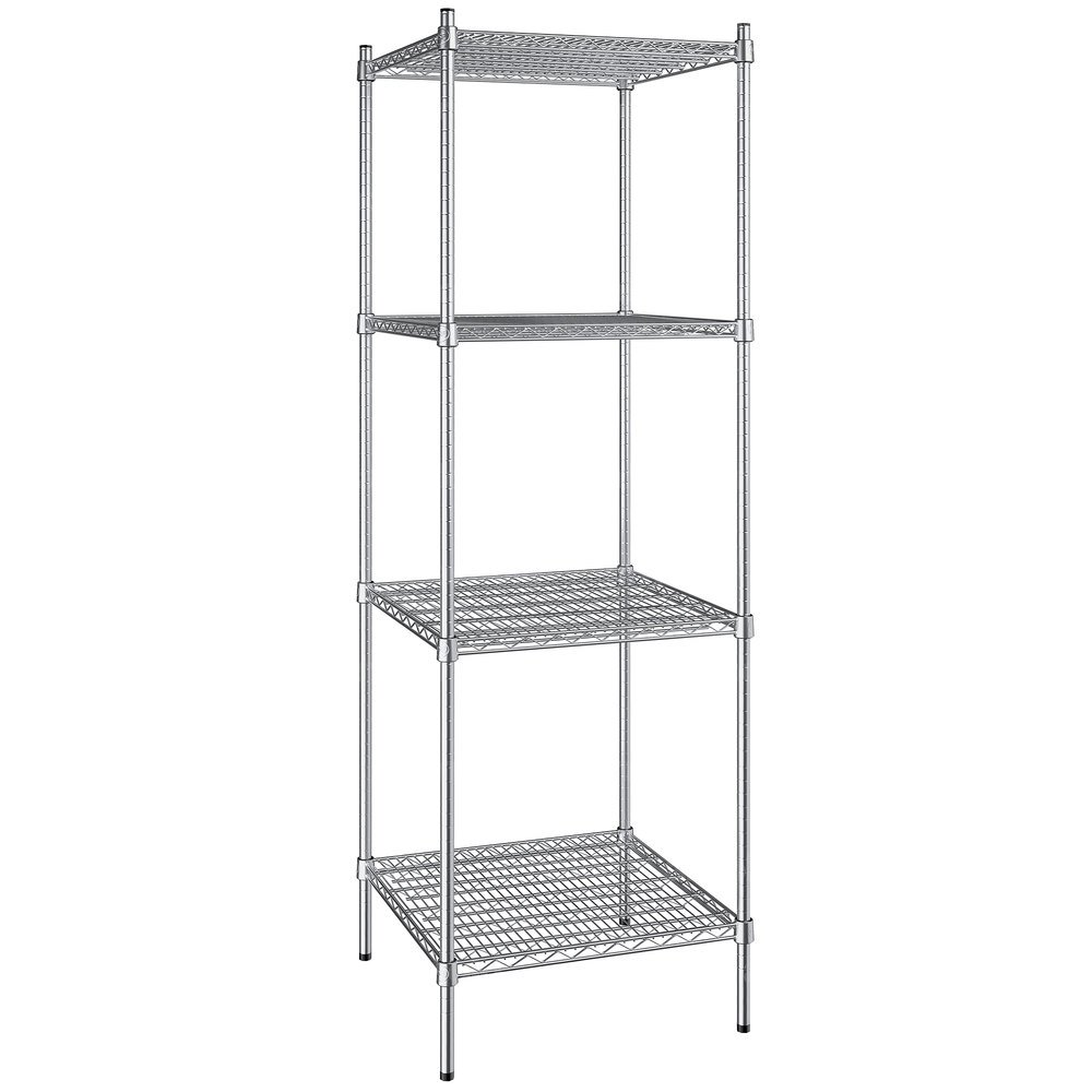 Regency 24 inch x 24 inch NSF Stainless Steel 4-Shelf Kit with 74 inch Posts