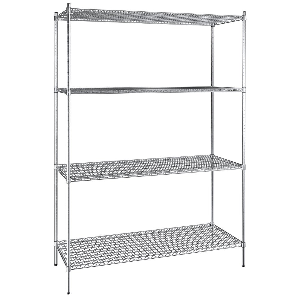Regency 24 inch x 60 inch NSF Stainless Steel 4-Shelf Kit with 86 inch Posts
