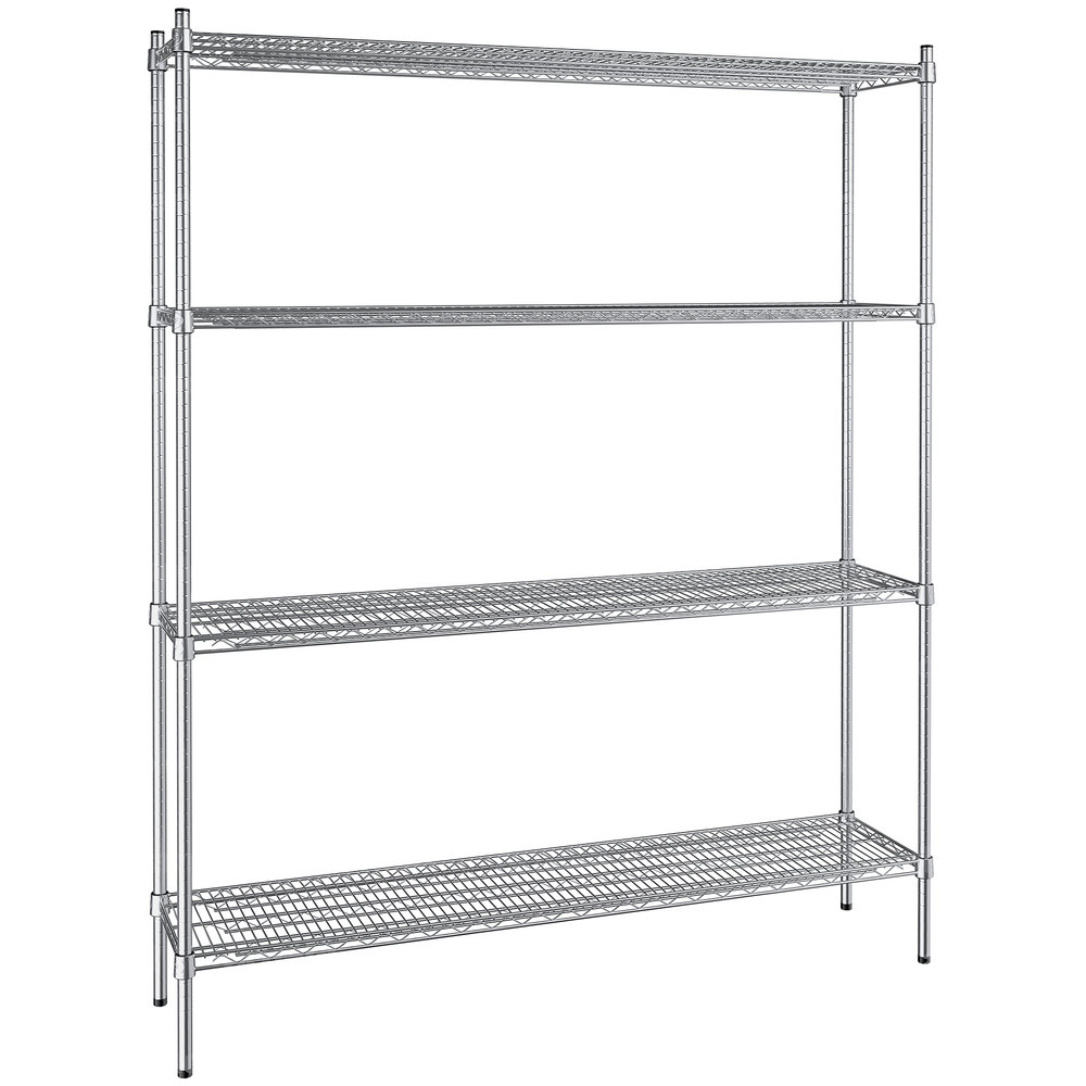 Regency 14 inch x 60 inch NSF Stainless Steel 4-Shelf Kit with 74 inch Posts