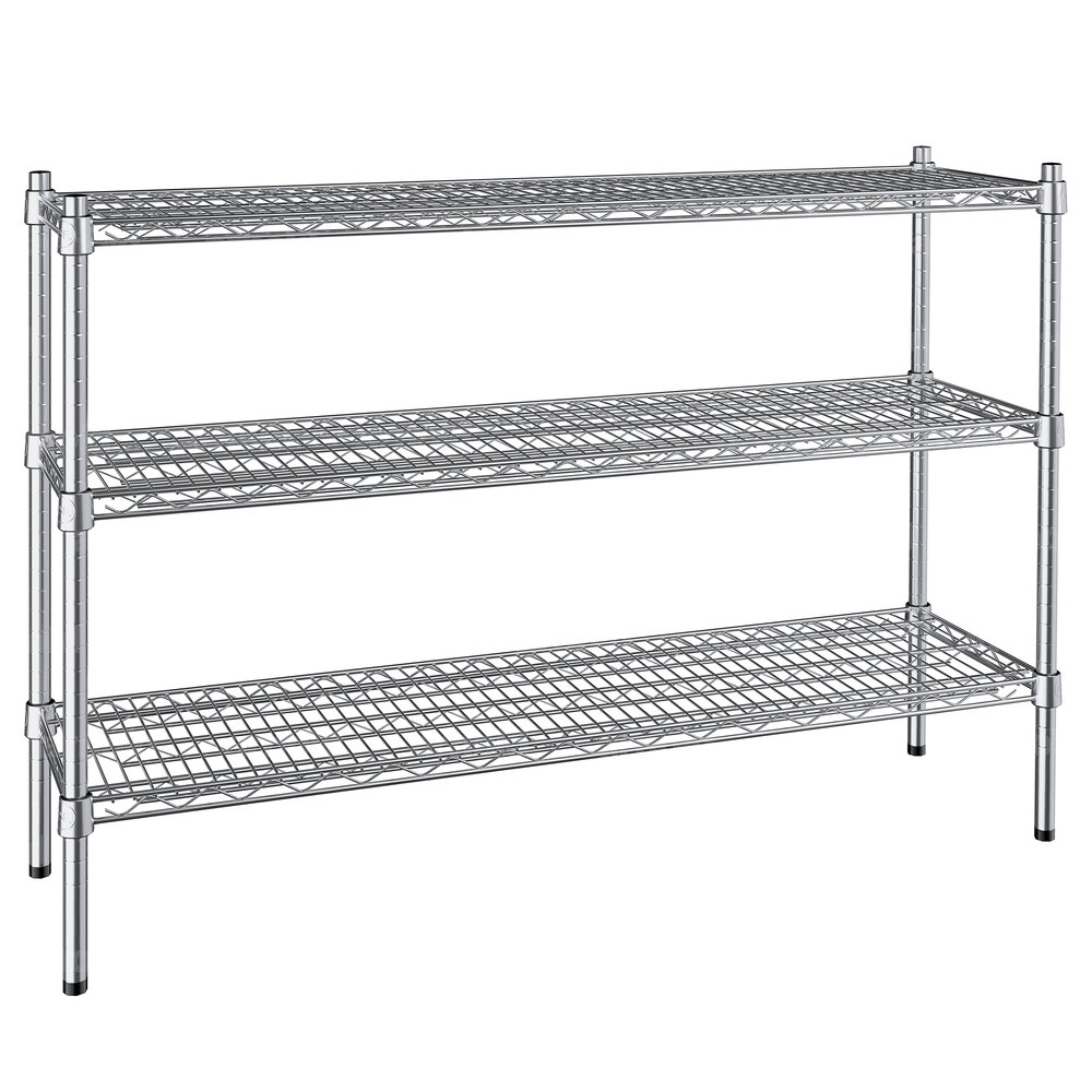 Regency 14 inch x 48 inch NSF Stainless Steel 3-Shelf Kit with 34 inch Posts