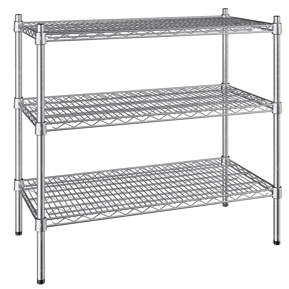 Regency 18 inch x 36 inch NSF Stainless Steel 3-Shelf Kit with 34 inch Posts