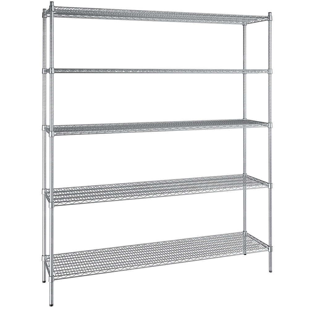 Regency 18 inch x 72 inch NSF Stainless Steel 5-Shelf Kit with 86 inch Posts