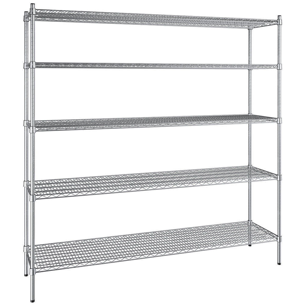 Regency 18 inch x 72 inch NSF Stainless Steel 5-Shelf Kit with 74 inch Posts