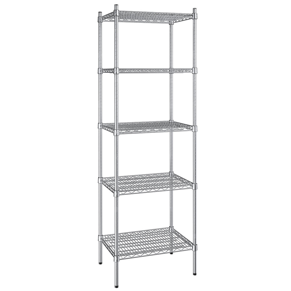 Regency 18 inch x 24 inch NSF Stainless Steel 5-Shelf Kit with 74 inch Posts
