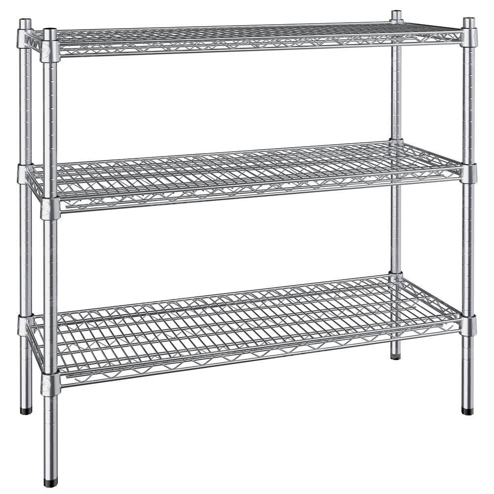 Regency 14 inch x 36 inch NSF Stainless Steel 3-Shelf Kit with 34 inch Posts