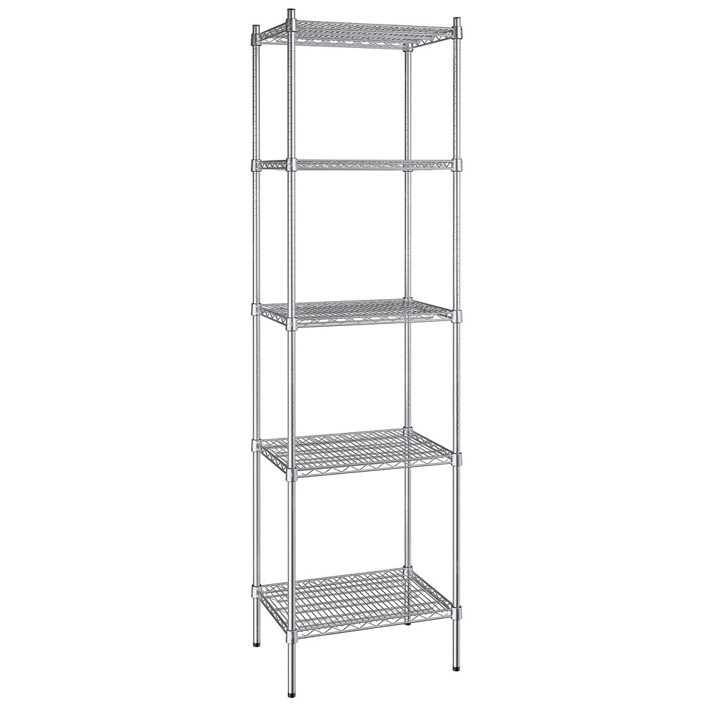 Regency 18 inch x 24 inch NSF Stainless Steel 5-Shelf Kit with 86 inch Posts
