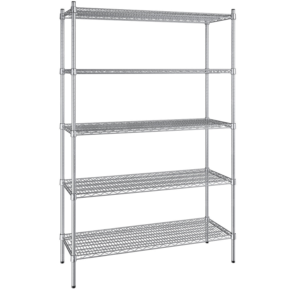 Regency 18 inch x 48 inch NSF Stainless Steel 5-Shelf Kit with 74 inch Posts