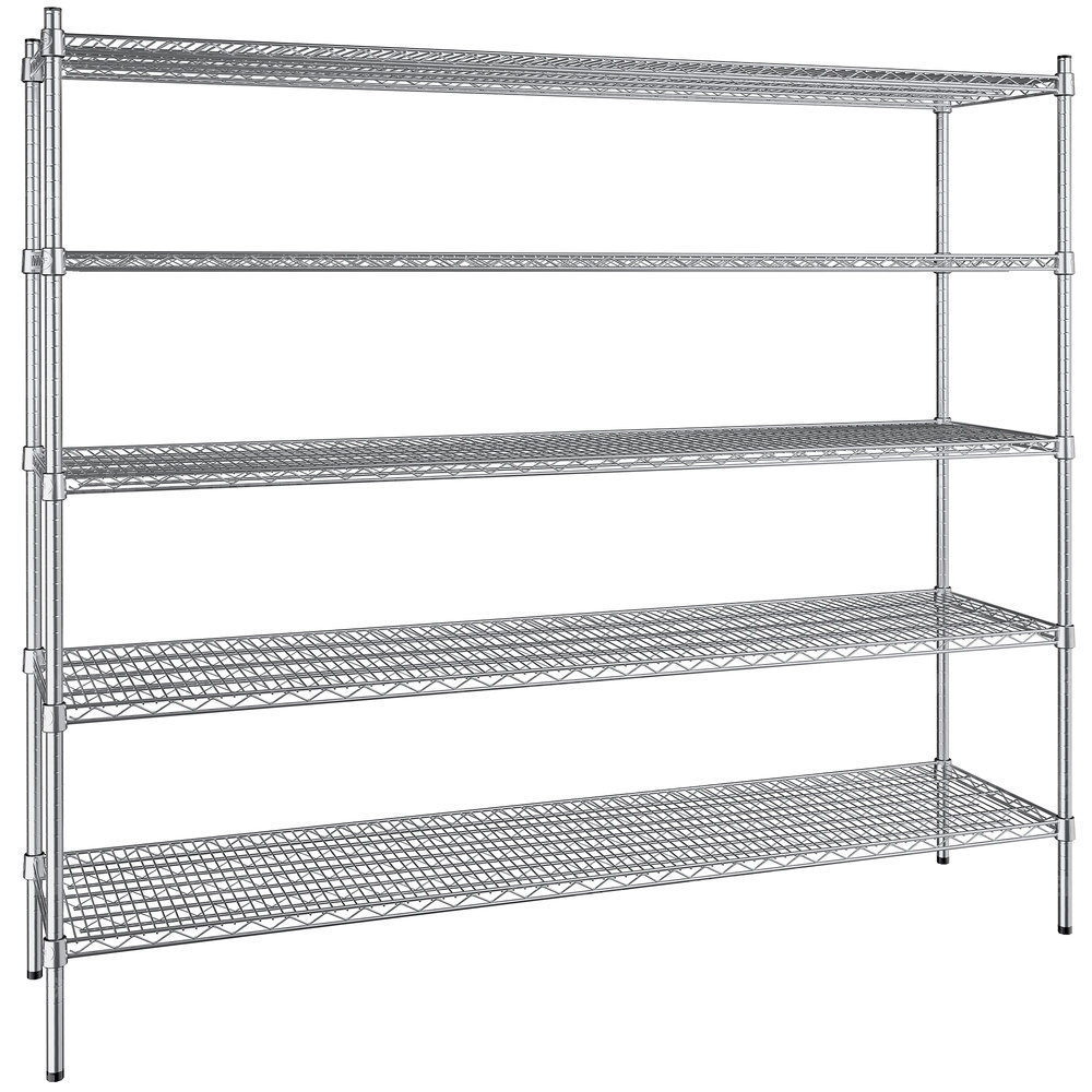 Regency 18 inch x 72 inch NSF Stainless Steel 5-Shelf Kit with 64 inch Posts