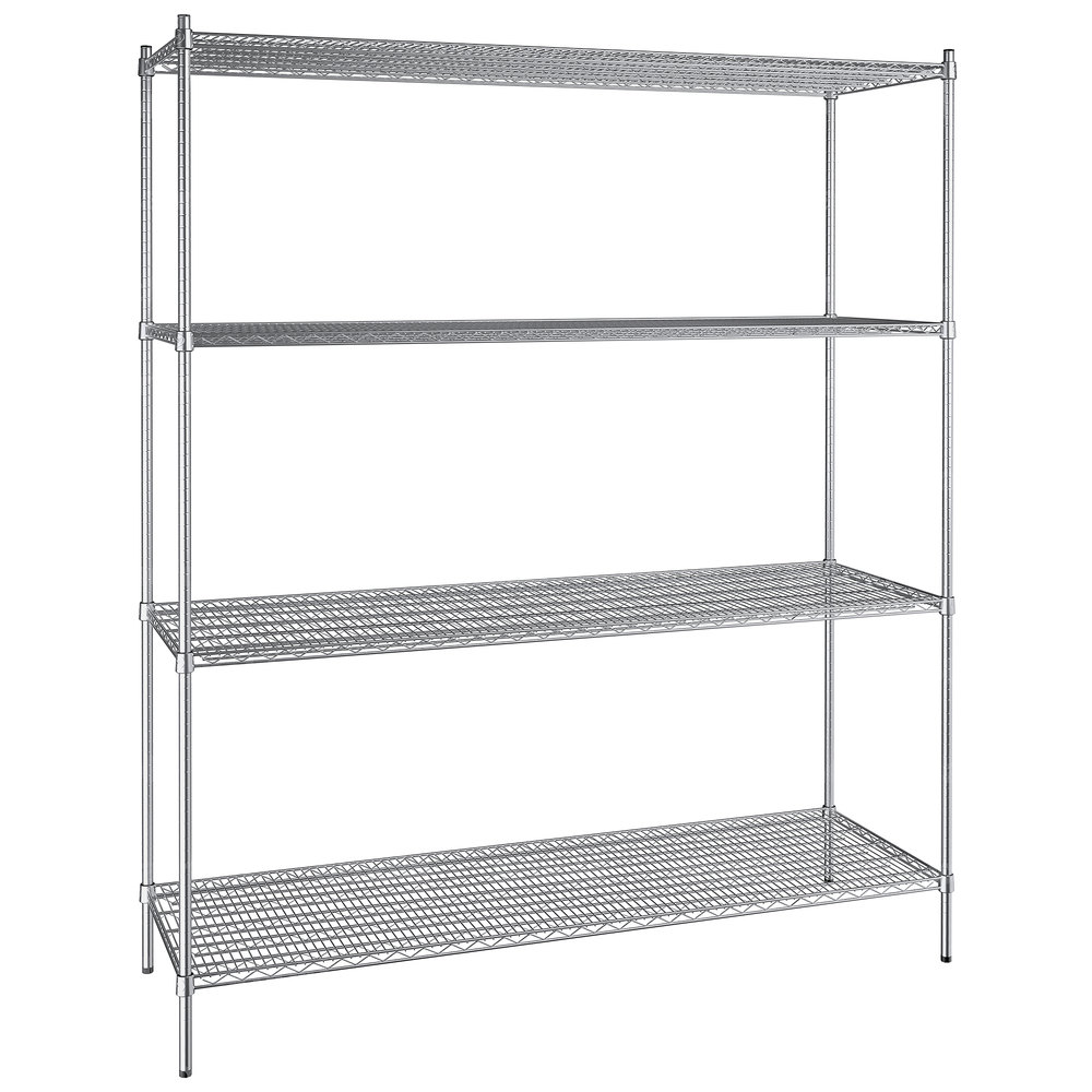Regency 24 inch x 72 inch NSF Stainless Steel 4-Shelf Kit with 86 inch Posts