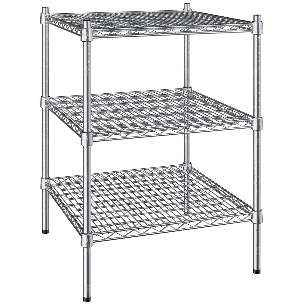 Regency 24 inch x 24 inch NSF Stainless Steel 3-Shelf Kit with 34 inch Posts