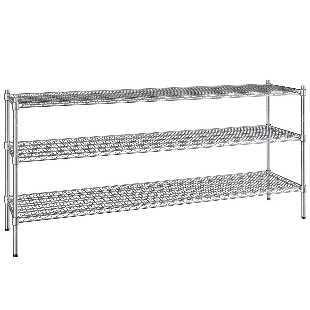 Regency 18 inch x 72 inch NSF Stainless Steel 3-Shelf Kit with 34 inch Posts
