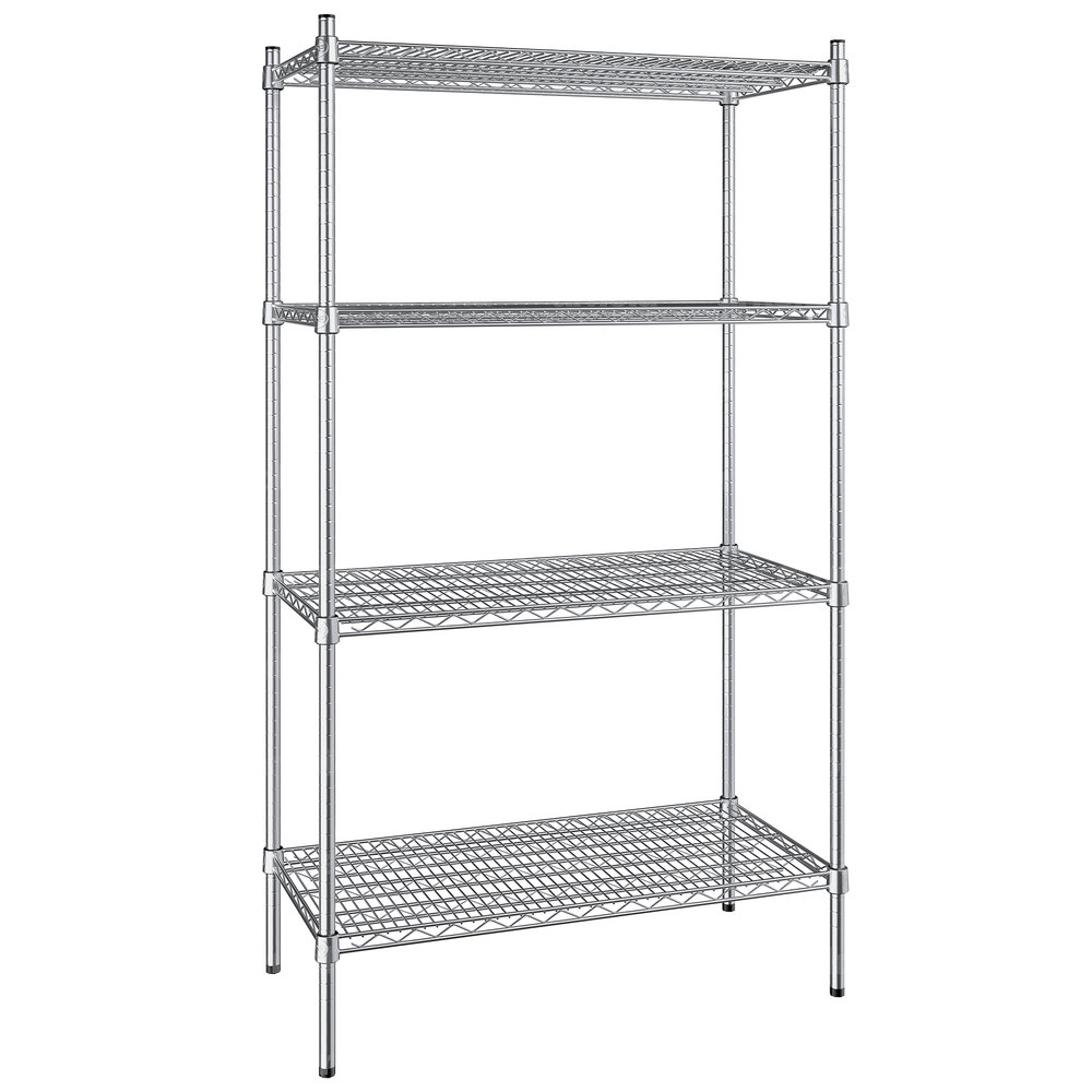 Regency 18 inch x 36 inch NSF Stainless Steel 4-Shelf Kit with 64 inch Posts