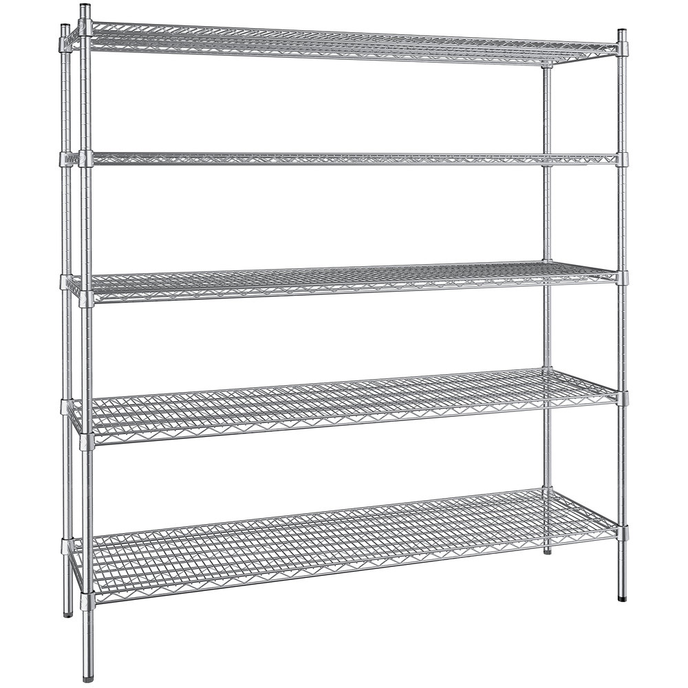 Regency 18 inch x 60 inch NSF Stainless Steel 5-Shelf Kit with 64 inch Posts
