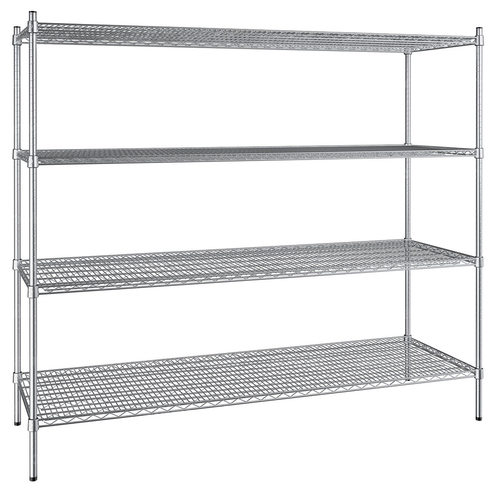 Regency 24 inch x 72 inch NSF Stainless Steel 4-Shelf Kit with 64 inch Posts