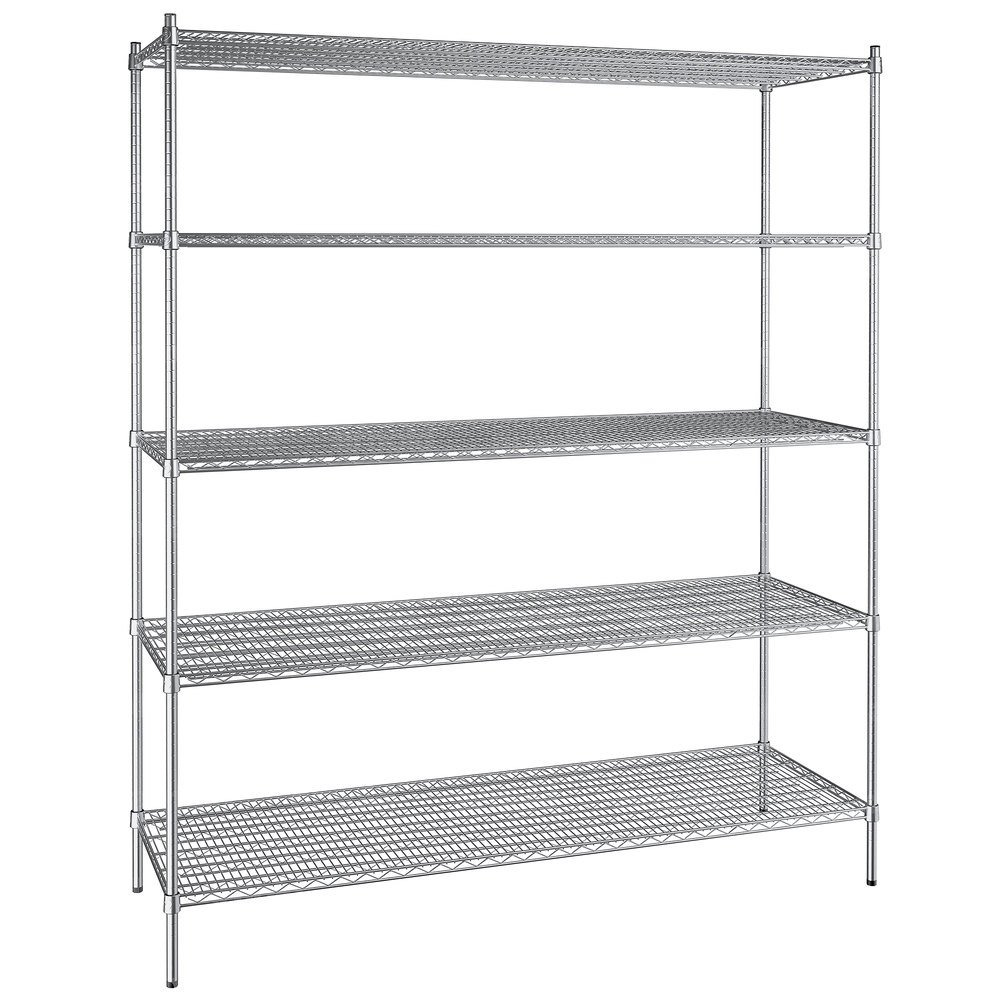 Regency 24 inch x 72 inch NSF Stainless Steel 5-Shelf Kit with 86 inch Posts