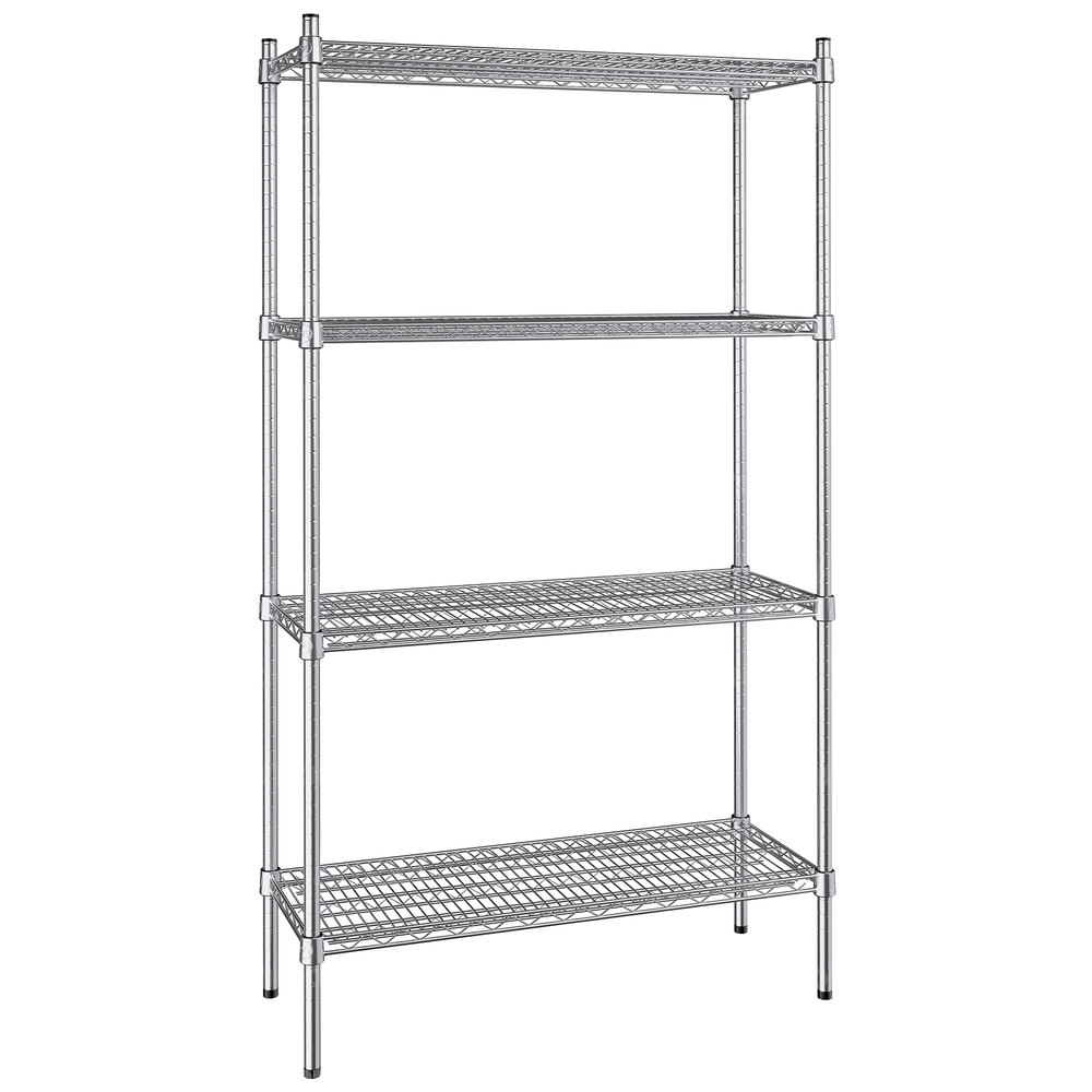 Regency 14 inch x 36 inch NSF Stainless Steel 4-Shelf Kit with 64 inch Posts