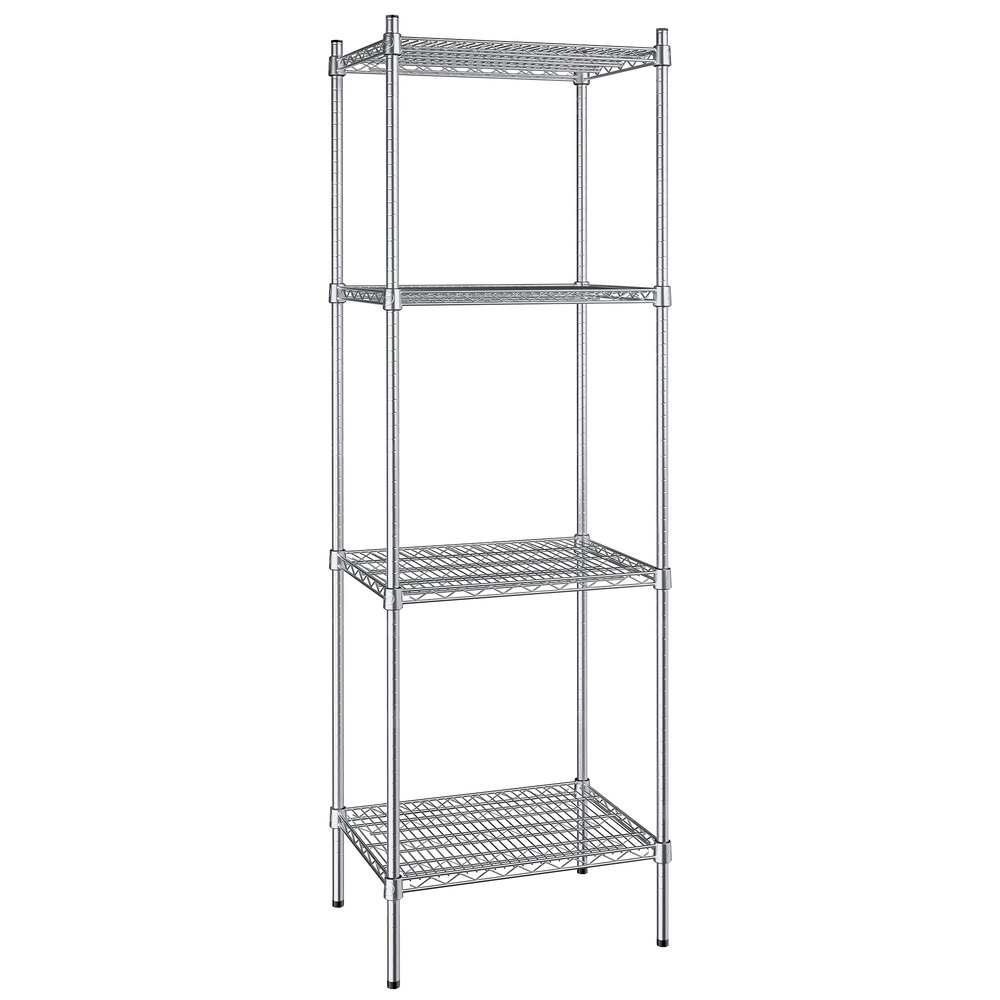 Regency 18 inch x 24 inch NSF Stainless Steel 4-Shelf Kit with 74 inch Posts