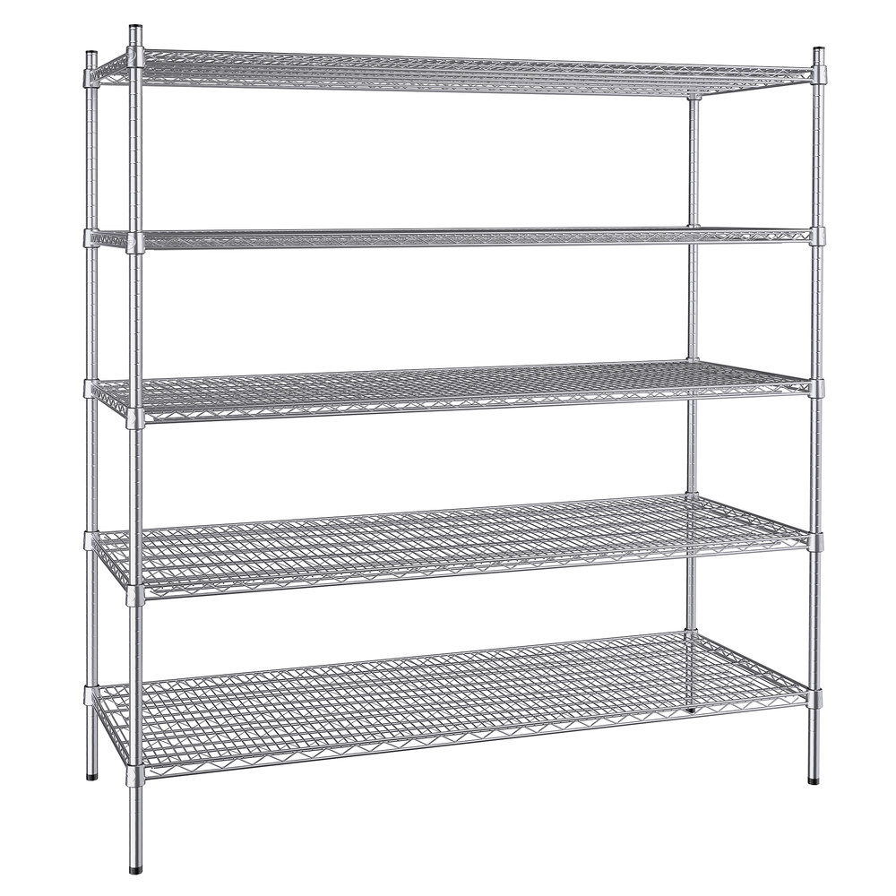 Regency 24 inch x 60 inch NSF Stainless Steel 5-Shelf Kit with 64 inch Posts
