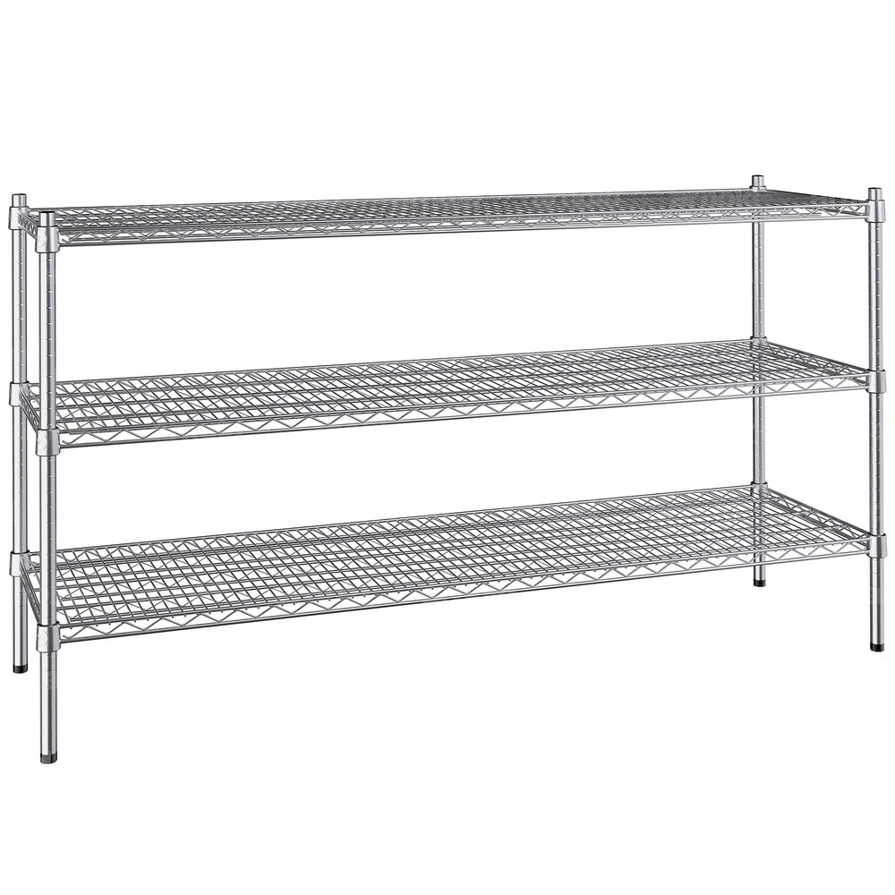 Regency 18 inch x 60 inch NSF Stainless Steel 3-Shelf Kit with 34 inch Posts