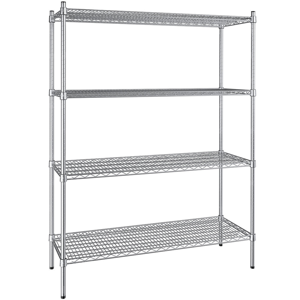 Regency 18 inch x 48 inch NSF Stainless Steel 4-Shelf Kit with 64 inch Posts