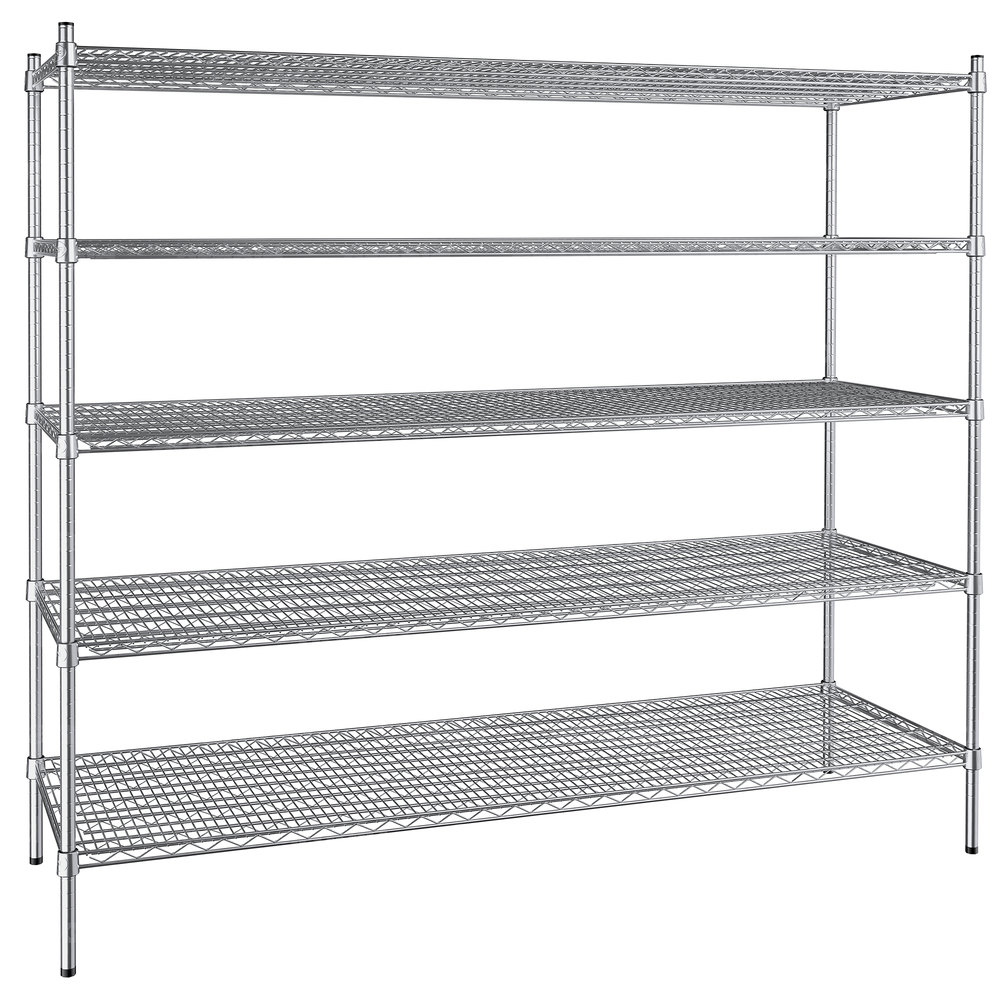 Regency 24 inch x 72 inch NSF Stainless Steel 5-Shelf Kit with 64 inch Posts