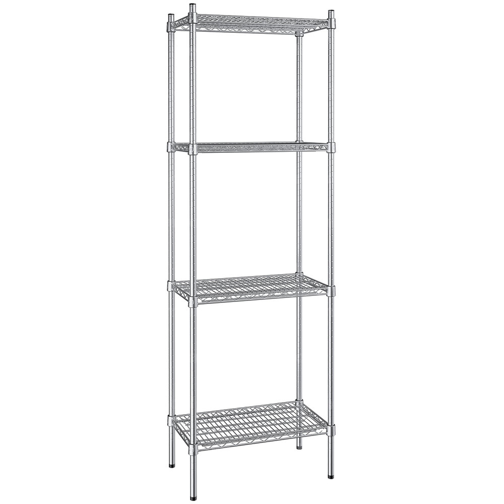 Regency 14 inch x 24 inch NSF Stainless Steel 4-Shelf Kit with 74 inch Posts