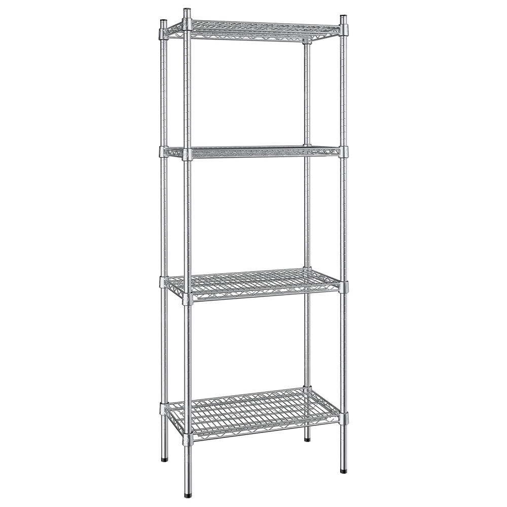 Regency 14 inch x 24 inch NSF Stainless Steel 4-Shelf Kit with 64 inch Posts