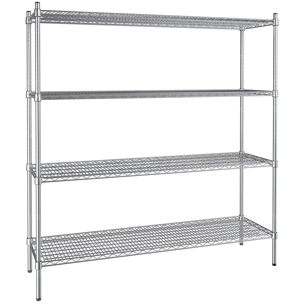 Regency 18 inch x 60 inch NSF Stainless Steel 4-Shelf Kit with 64 inch Posts
