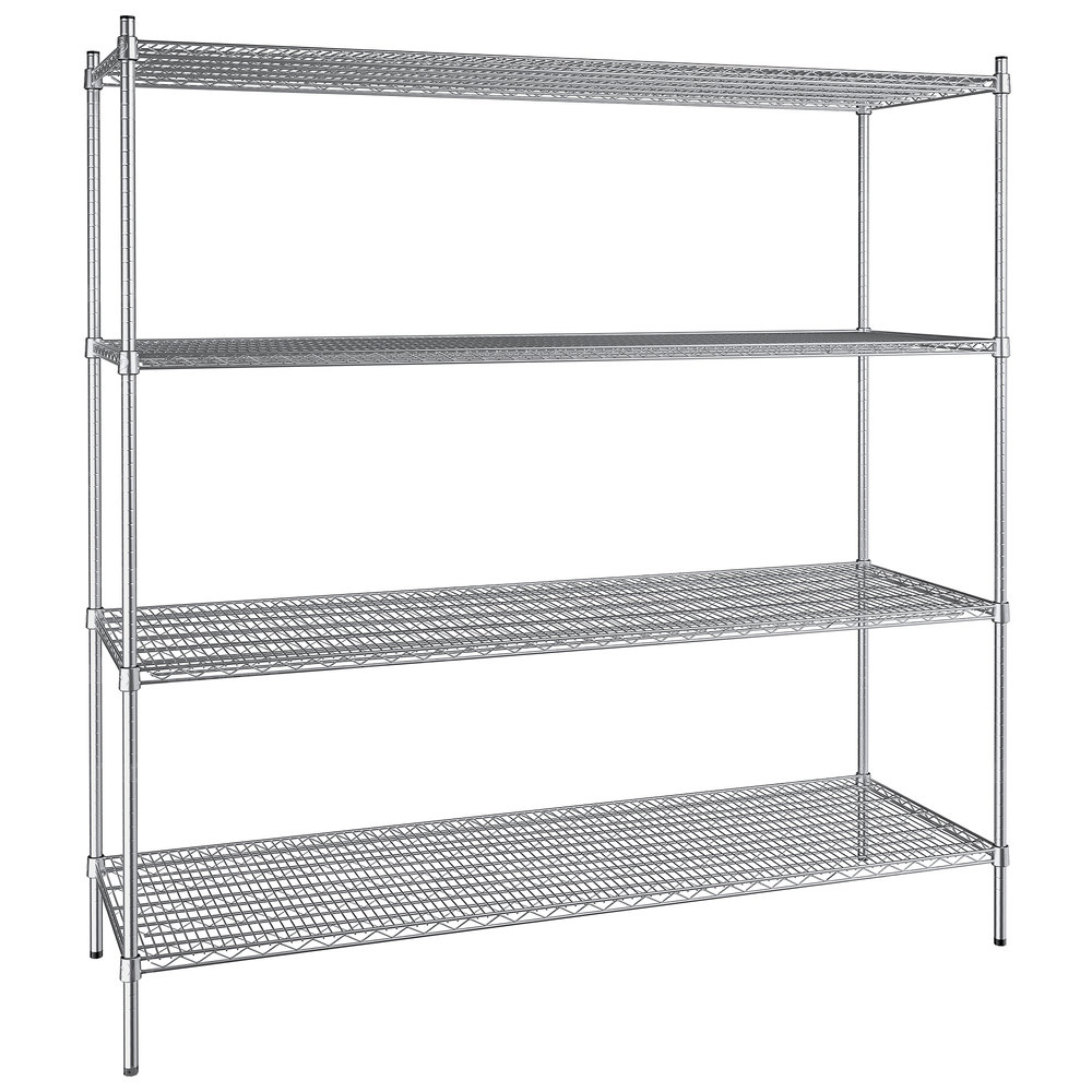 Regency 24 inch x 72 inch NSF Stainless Steel 4-Shelf Kit with 74 inch Posts