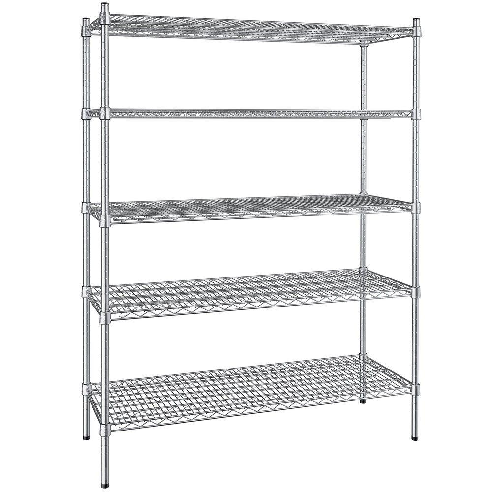Regency 18 inch x 48 inch NSF Stainless Steel 5-Shelf Kit with 64 inch Posts
