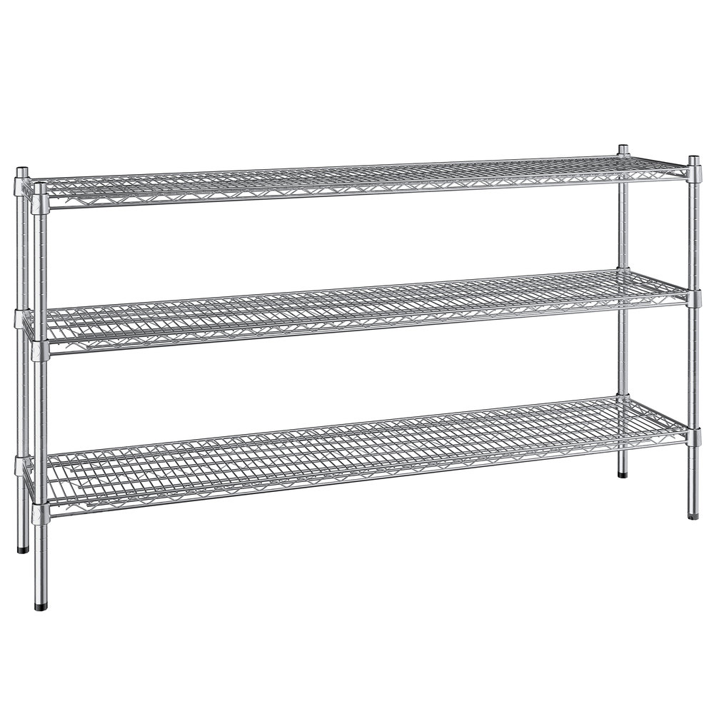 Regency 14 inch x 60 inch NSF Stainless Steel 3-Shelf Kit with 34 inch Posts