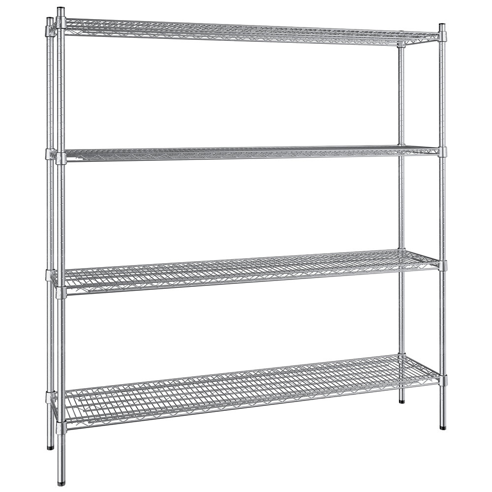 Regency 14 inch x 60 inch NSF Stainless Steel 4-Shelf Kit with 64 inch Posts