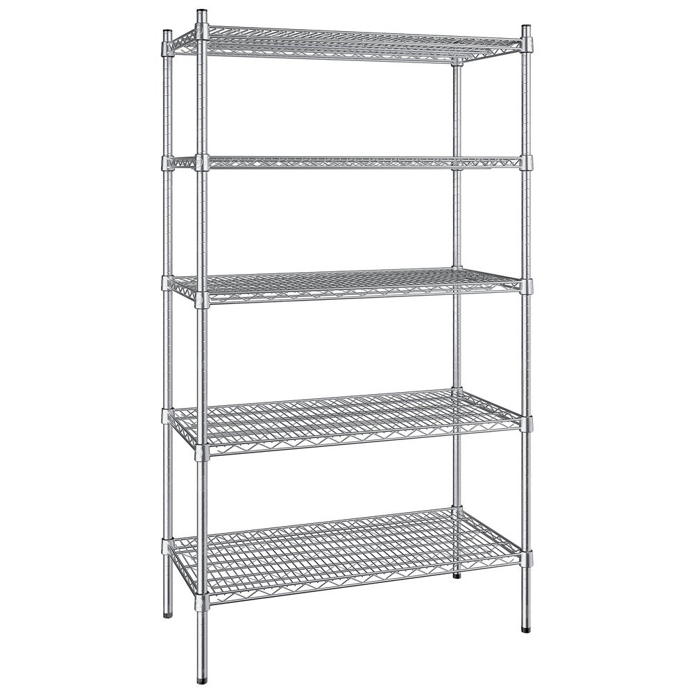 Regency 18 inch x 36 inch NSF Stainless Steel 5-Shelf Kit with 64 inch Posts