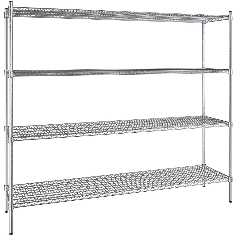 Regency 18 inch x 72 inch NSF Stainless Steel 4-Shelf Kit with 64 inch Posts