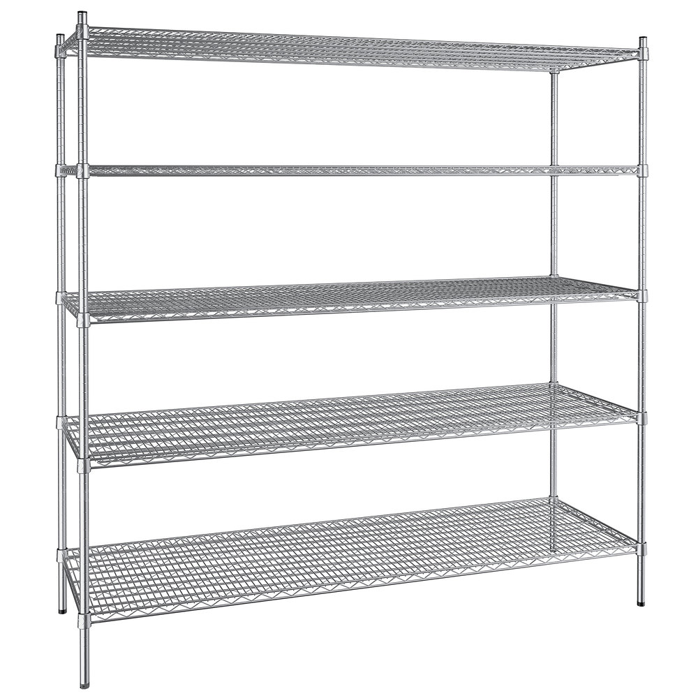 Regency 24 inch x 72 inch NSF Stainless Steel 5-Shelf Kit with 74 inch Posts