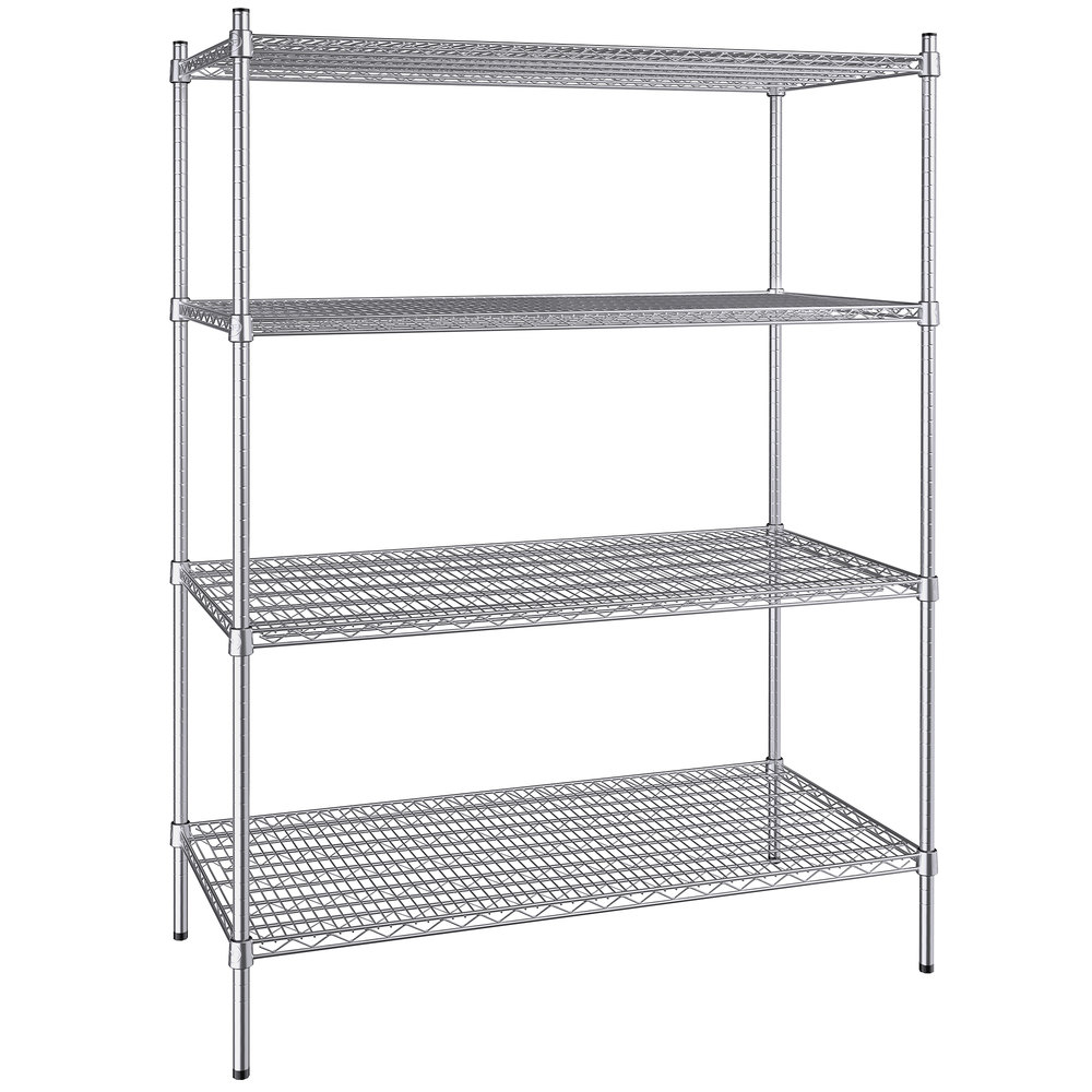 Regency 24 inch x 48 inch NSF Stainless Steel 4-Shelf Kit with 64 inch Posts