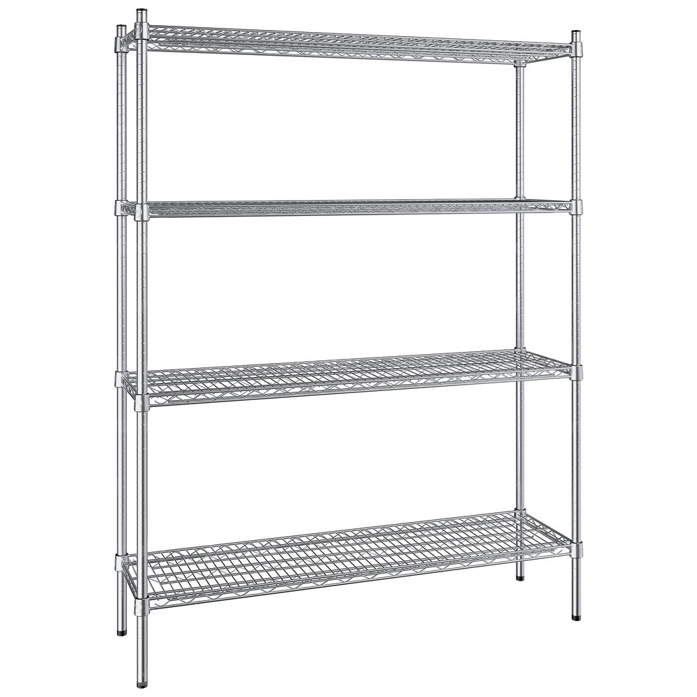 Regency 14 inch x 48 inch NSF Stainless Steel 4-Shelf Kit with 64 inch Posts