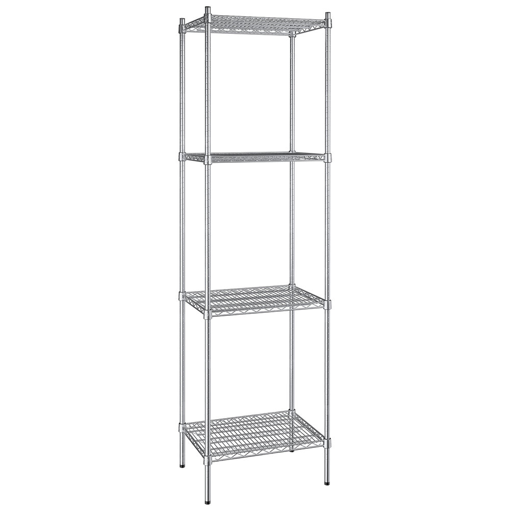 Regency 18 inch x 24 inch NSF Stainless Steel 4-Shelf Kit with 86 inch Posts