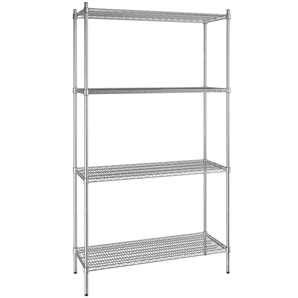 Regency 18 inch x 48 inch NSF Stainless Steel 4-Shelf Kit with 86 inch Posts