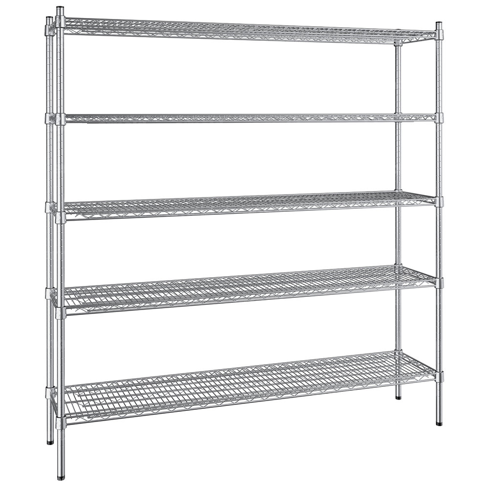 Regency 14 inch x 60 inch NSF Stainless Steel 5-Shelf Kit with 64 inch Posts