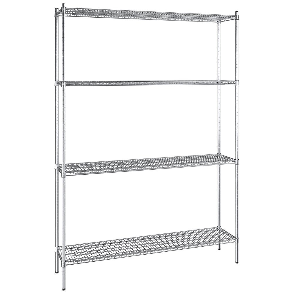 Regency 14 inch x 60 inch NSF Stainless Steel 4-Shelf Kit with 86 inch Posts