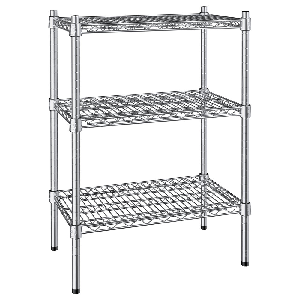 Regency 14 inch x 24 inch NSF Stainless Steel 3-Shelf Kit with 34 inch Posts