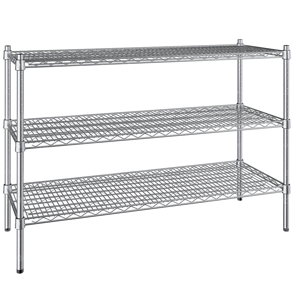 Regency 18 inch x 48 inch NSF Stainless Steel 3-Shelf Kit with 34 inch Posts