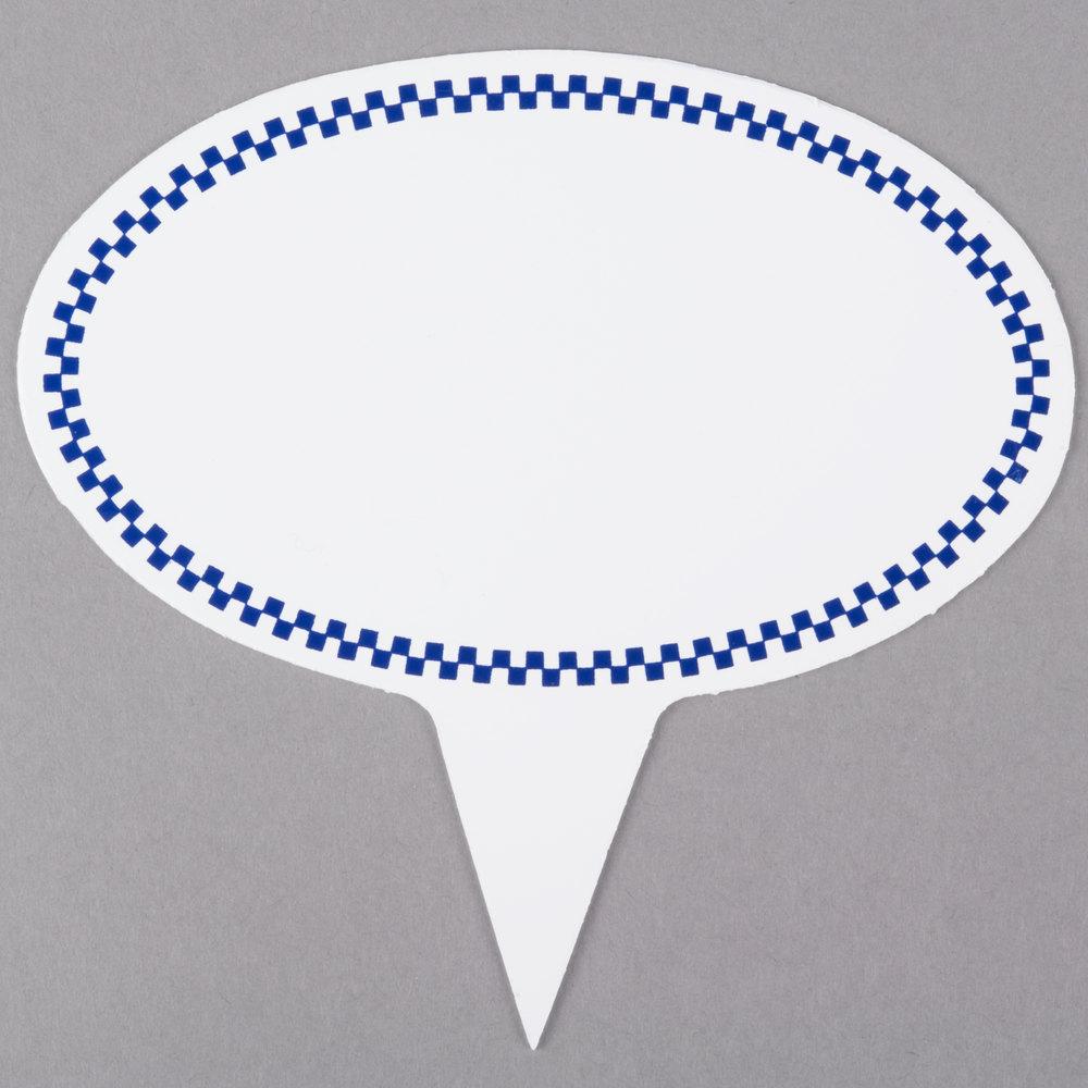 Oval Write On Deli Sign Spear with Blue Checkered Border