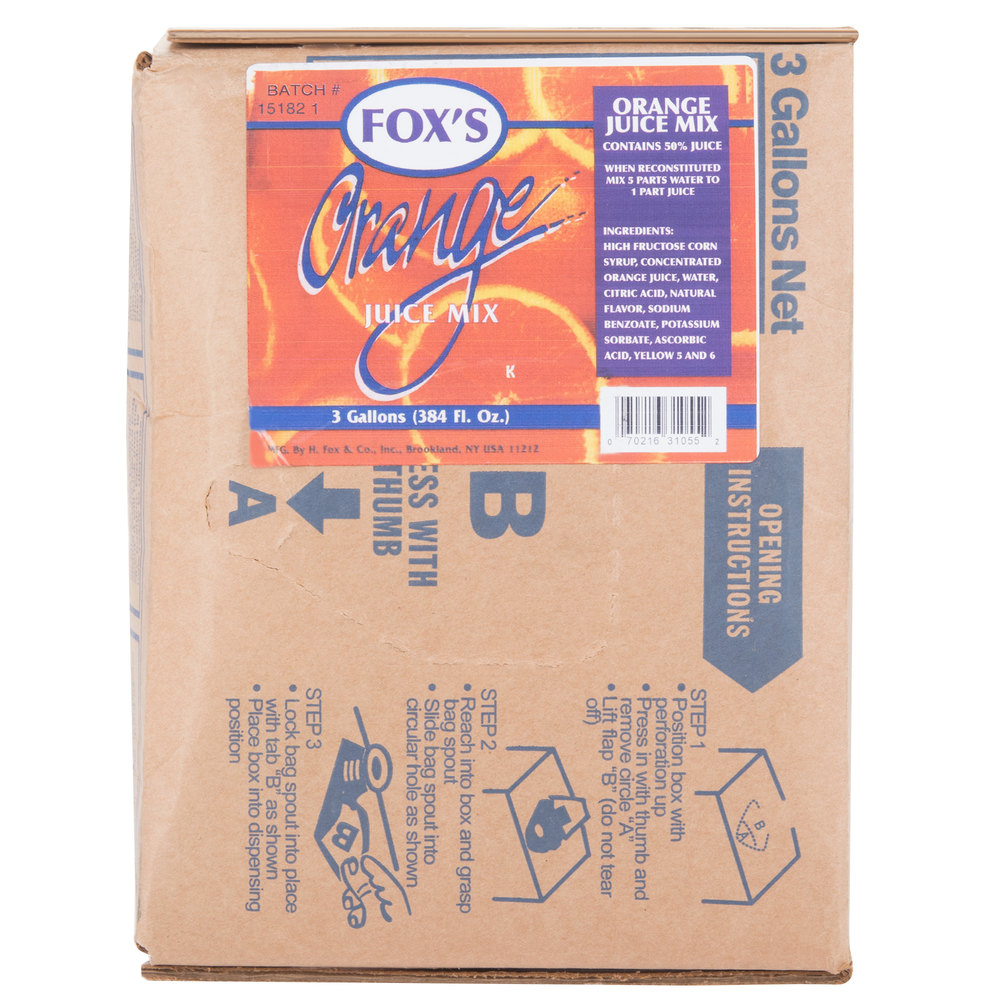 Fox's Bag in Box Orange Juice Syrup - 3 Gallon