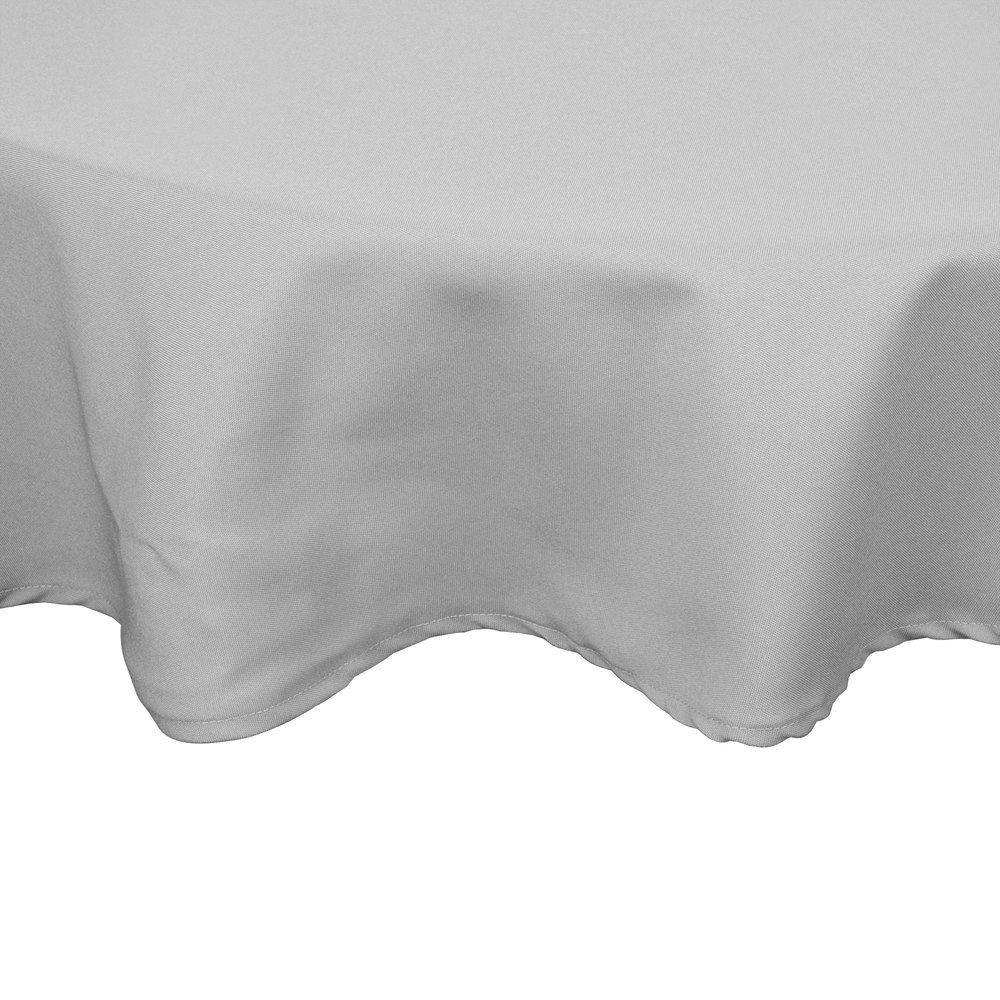 "54"" Gray Round Hemmed Polyspun Cloth Table Cover"