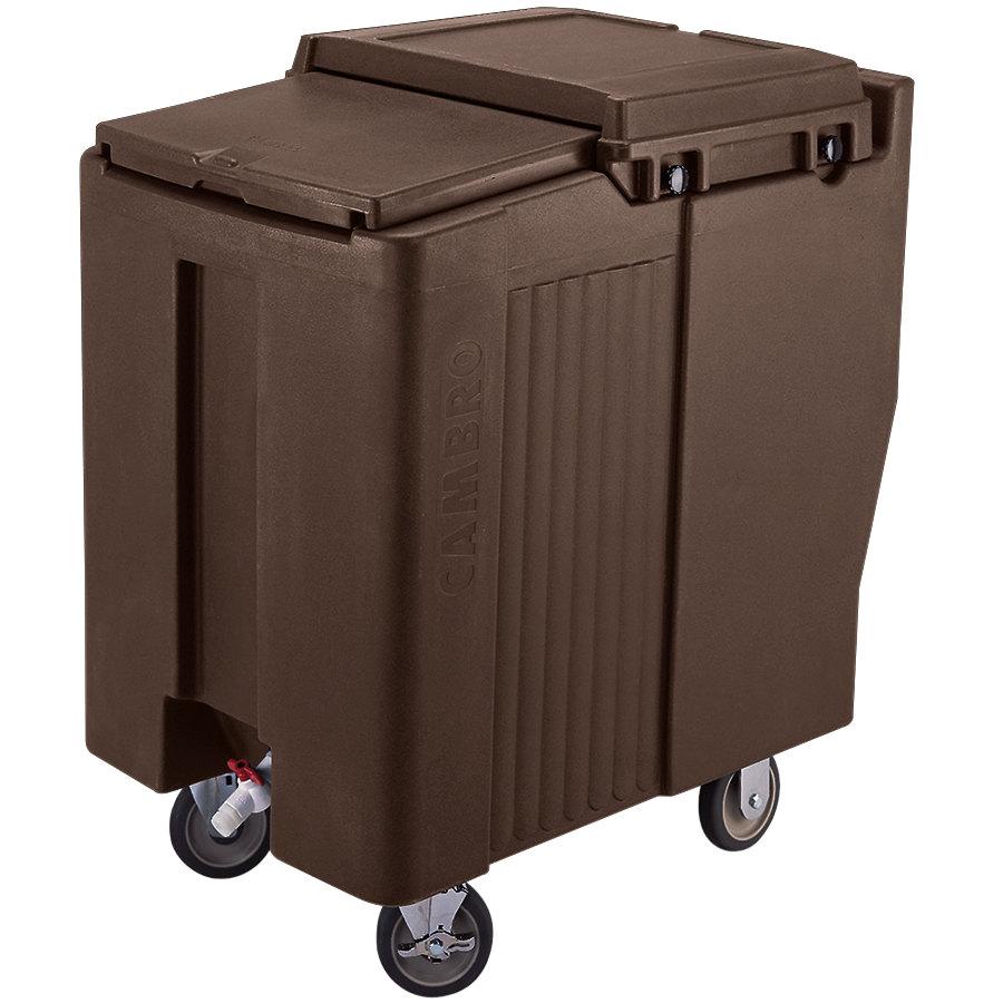 Portable Feed Storage Bins : Cambro ics t dark brown sliding lid portable ice bin