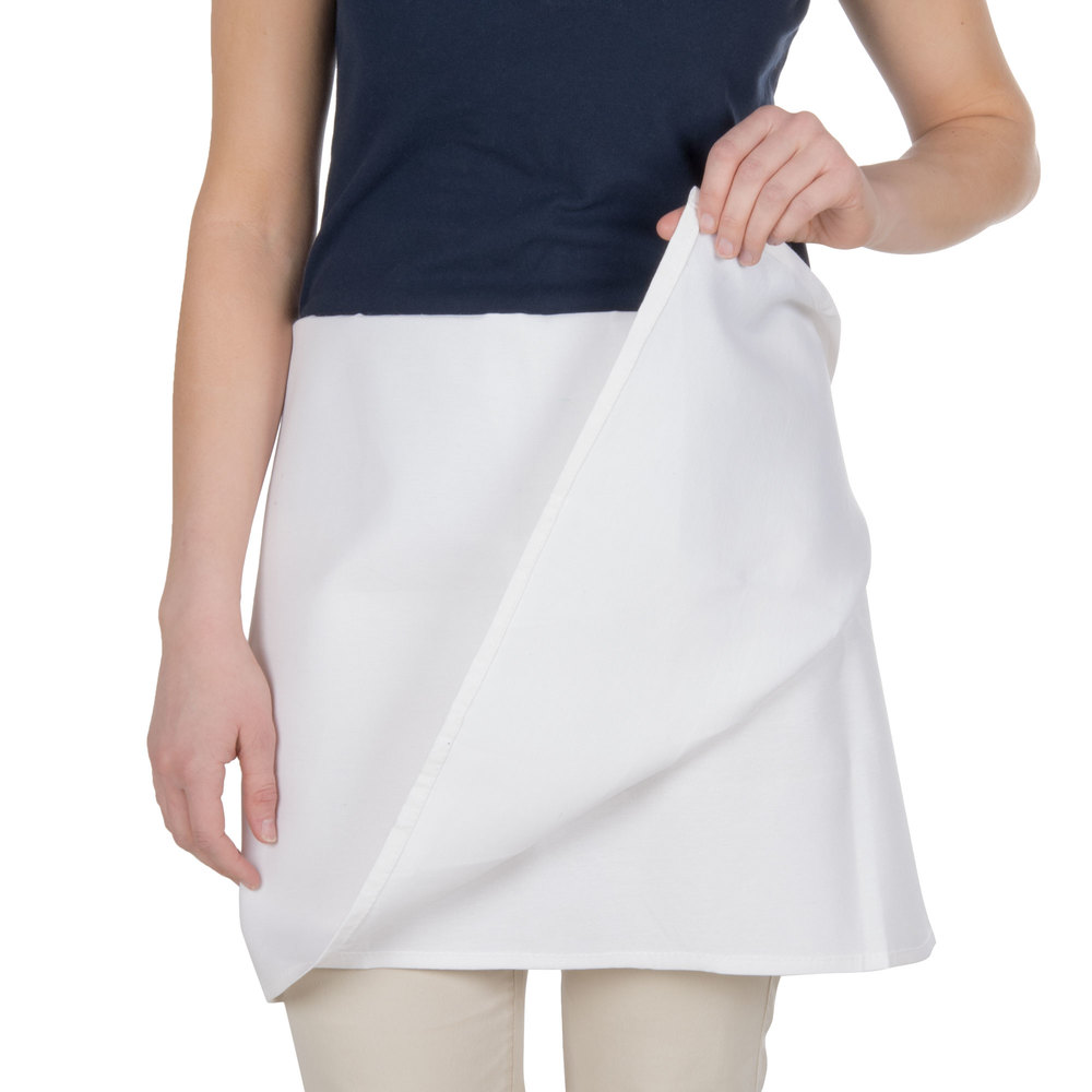 "Choice White 4-Way Waist Apron - 34""L x 34""W"