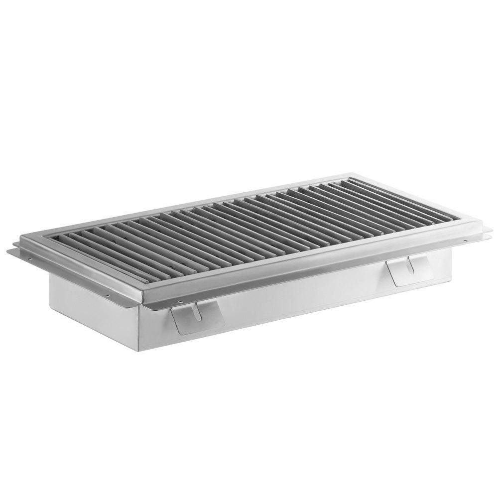 Regency 12 inch x 108 inch 14-Gauge Stainless Steel Floor Trough with Grate