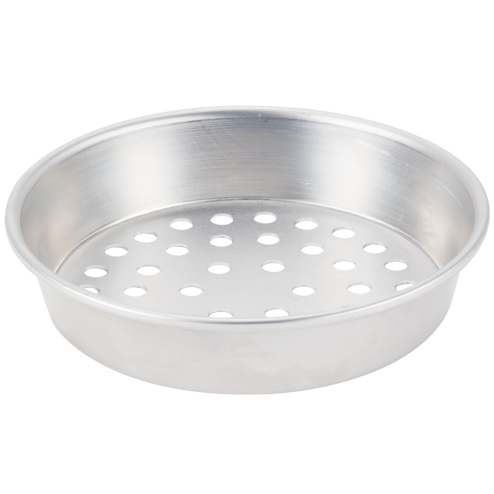 "American Metalcraft A90671.5SP 6"" x 1 1/2"" Super Perforated Standard Weight Aluminum Tapered / Nesting Pizza Pan"